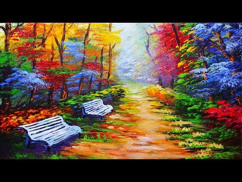 LANDSCAPE PAINTING TUTORIAL Park with Bench and Autumn Trees | Basic Acrylic Lesson