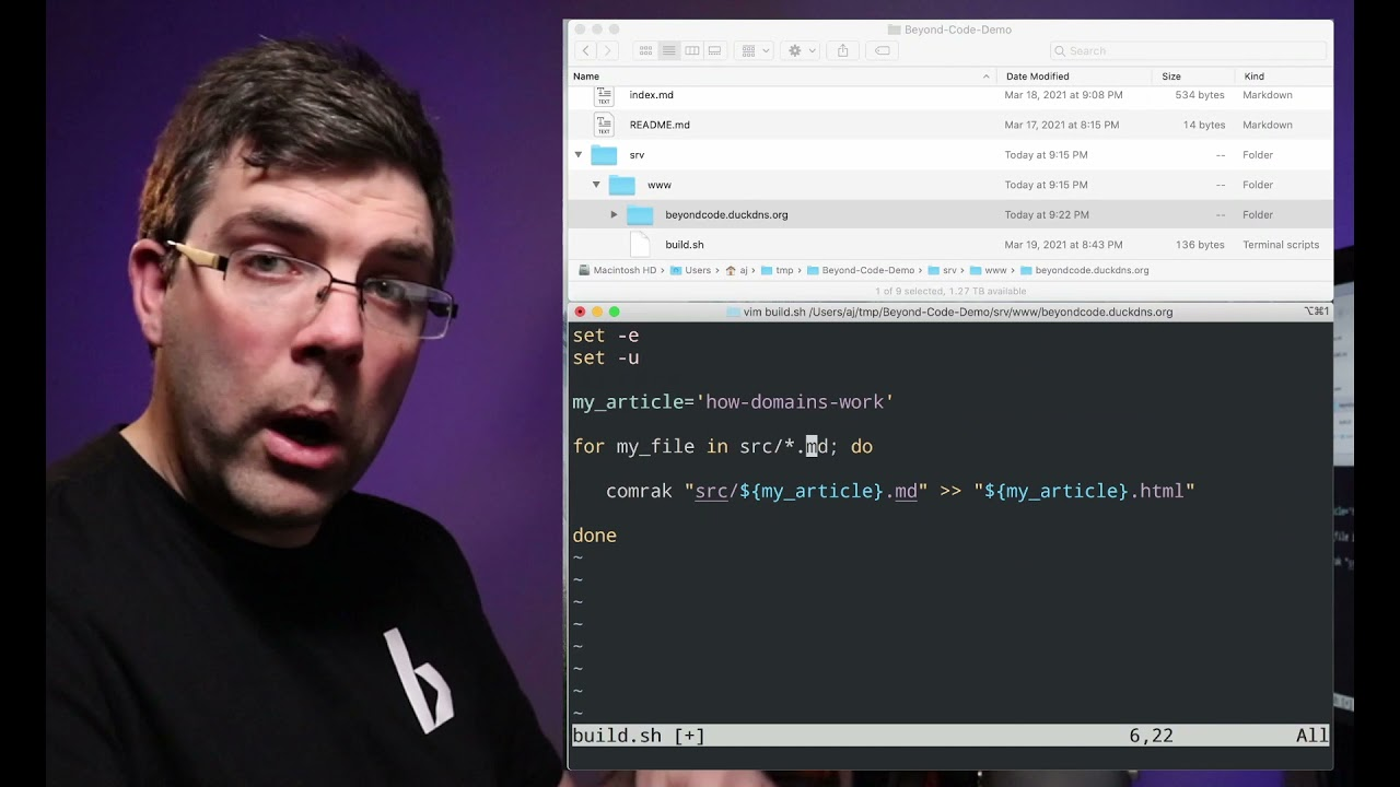 Practical Bash: Variables and For Loops in Scripts - Beyond Code Live 009
