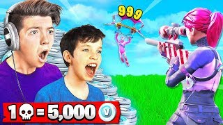 FORTNITE WORLD\'S *BEST* 13 YEAR OLD! 1 KILL = 5,000 *FREE* VBUCKS CHALLENGE!