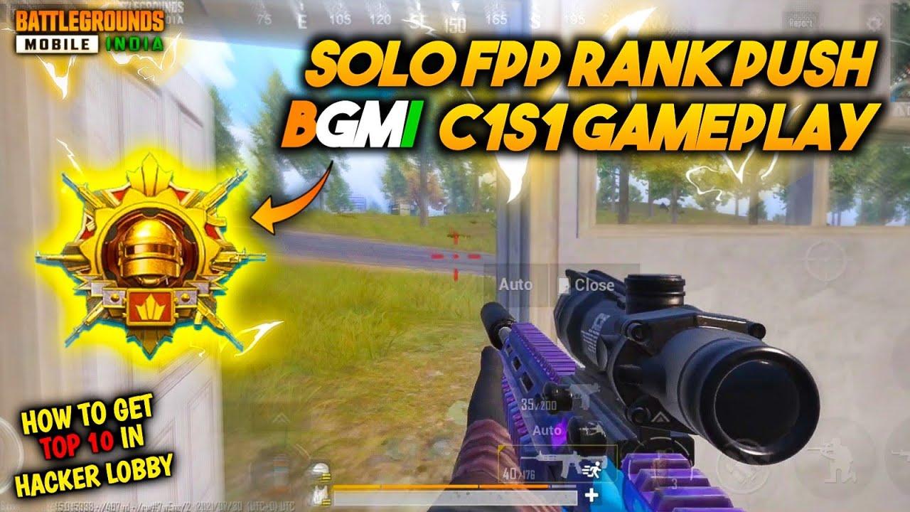 Solo Fpp Conqueror Rank Push Gameplay | How To Survive In Hacker Lobby In Bgmi | BGMI C1s1 Rank Push