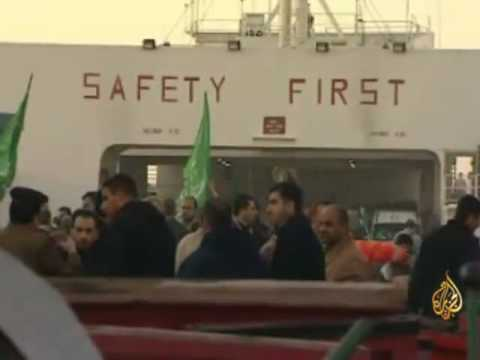 قافلة شريان الحياة تصل ميناء العريش المصرية
