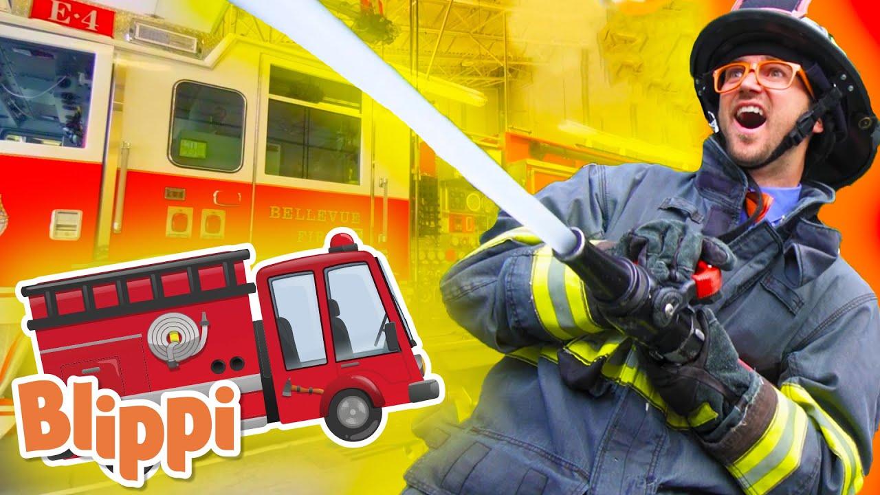 Blippi | Blippi Fire Station| Educational Videos for Toddlers | Fire Trucks | Fire Station