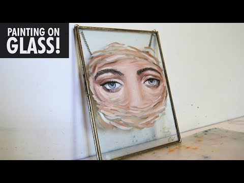 Oil painting on a GLASS frame!