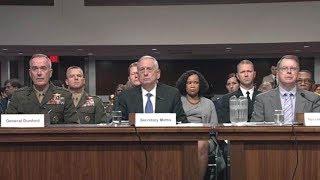 Sec. Mattis testifies on 2018 budget. June 13, 2017. Sen. McCain. Gen. Dunford.