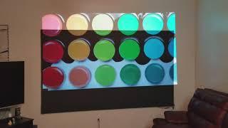 Optoma HD27 projector dark screen vs wall.