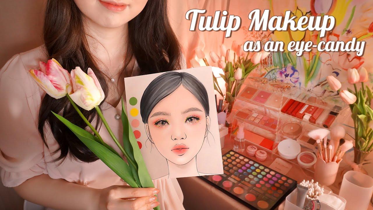 ASMR Colorful Tulip Makeup as an eye-candy🌷