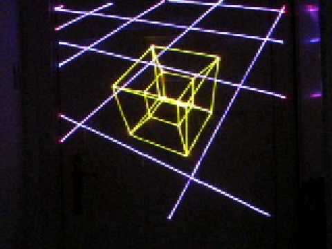 3D laser graphics: Tesseract or Hypercube (4D cube) projected in 3D