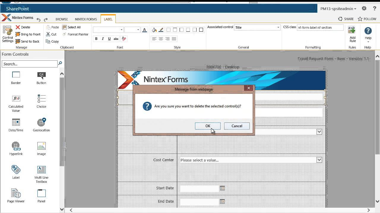 Build A Travel Request Form With Nintex Forms 2013 (part 1 Of 3)    Simple  Customization   YouTube