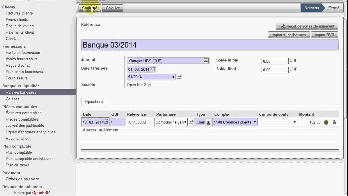 OpenERP Odoo Suisse Paiement De Facture Via Le Relev Bancaire