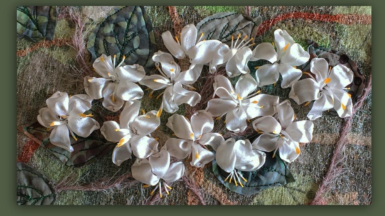 How To Embroider A Silk Ribbon Blackthorn Flower Arrangement