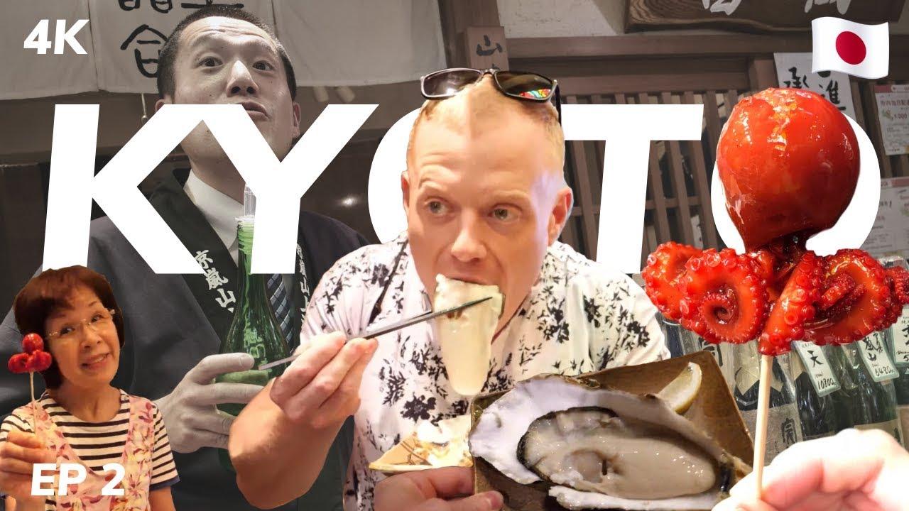 Eating the Biggest Oyster Ever 4K ??KYOTO (Nishiki Street Food Market Tour) JAPAN