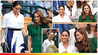 Meghan elegant in a shirt while Kate glamorous a green £2,150 D&G dress at women's Wimbledon Final