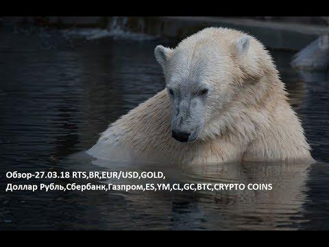 Обзор-27.03.18 RTS,BR,EUR/USD,GOLD, Доллар Рубль,Сбербанк,Газпром,ES,YM,CL,GC,BTC,CRYPTO COINS