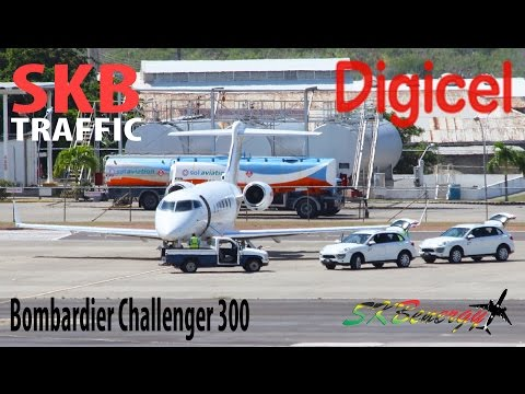 Tower View !!! Digicel Bombardier Challenger 300 (N876DG) arriving in St. Kitts from Jamaica !!!
