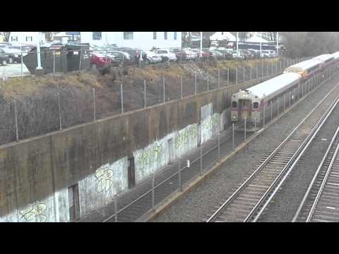 HD MBTA Red Line and Commuter Rail trains in North Braintree MA