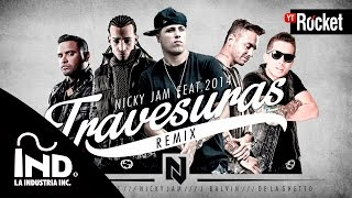 Repeat youtube video Travesuras Remix - Nicky Jam Ft De La Ghetto, J balvin, Zion y Arcangel | Video Lyric