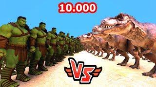 10.000 HULK VS 10.000 T-REX 😱 - Süper Kahramanlar