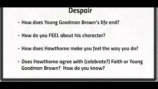 """faith or destiny as brought out in nathaniel hawthornes goodman brown Why nathaniel hawthorne's daughter is now called a servant of """"and they brought a goodness and ultimately was killed for living out his catholic faith."""