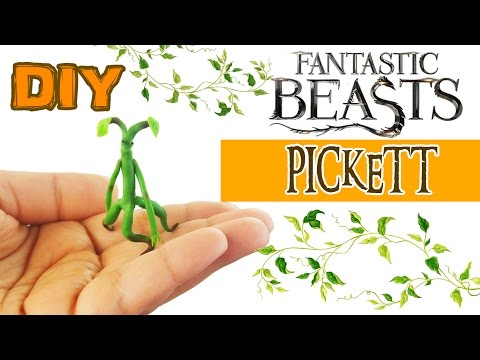 DIY MINIATURE FANTASTIC BEASTS AND WHERE TO FIND THEM PICKETT BOWTRUCKLE Polymer Clay Tutorial
