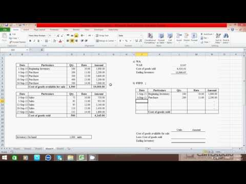 How to calculate Ending inventory and Cost of goods sold by using WA, FIFO & LIFO method in excel
