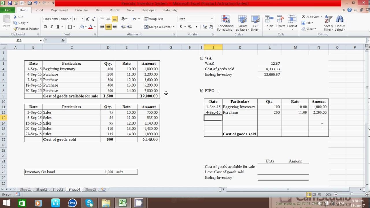 How To Calculate Ending Inventory And Cogs Periodic Is By Using Wa Fifo Lifo Method In Excel