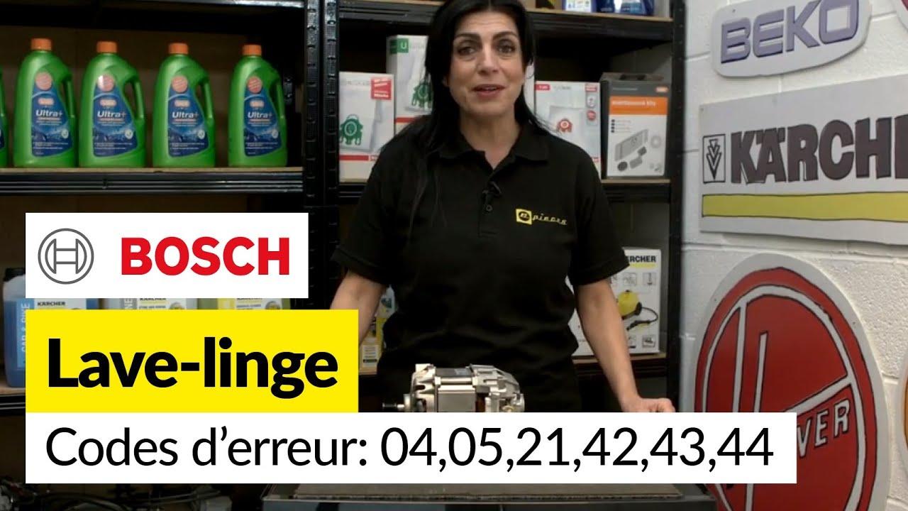 Codes Erreurs Lave Linge Bosch 04 05 21 42 43 Et 44 Erreur Moteur