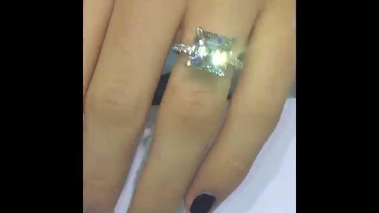 6 Carat Asscher Cut Diamond In Engagement Ring Setting Youtube