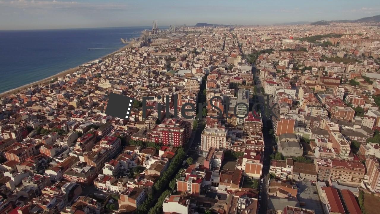 Aerial shot of Barcelona and coastline, Spain - YouTube