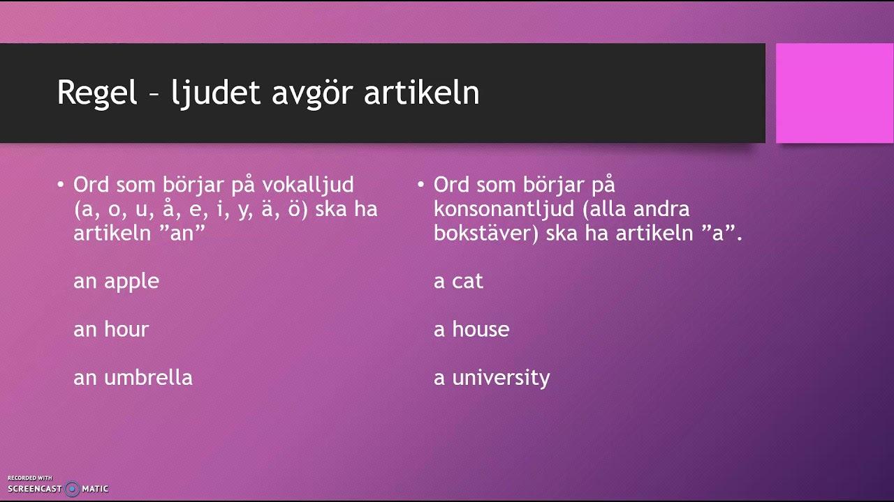Engelsk grammatik på svenska: a/an