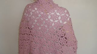How to crochet shawl  flower motifs  Part 4