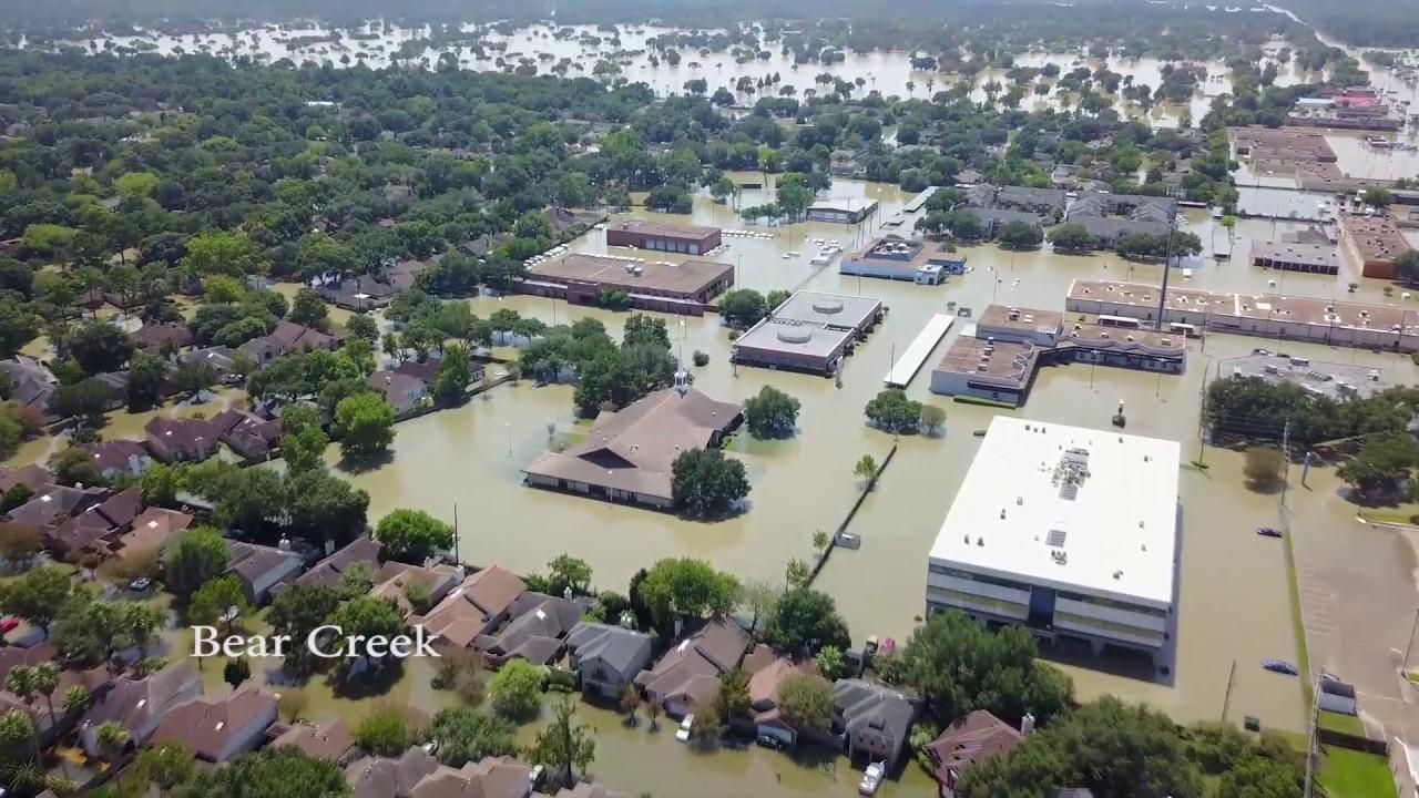 DRONE VIDEO - HARVEY : EPIC TEXAS FLOOD OF 2017 - BEAR CREEK, LAKEWOOD, RAVENSWAYS