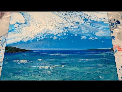 (185) Landscape / Ocean w Cloudy Effect - Fluid Acrylic Pour Painting - Flow Art