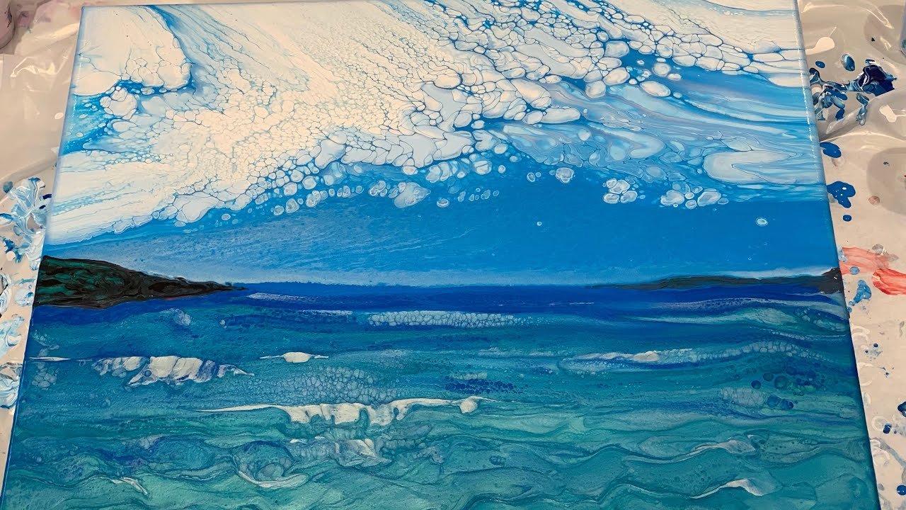 185 Landscape Ocean W Cloudy Effect Fluid Acrylic Pour Painting Flow Art Youtube