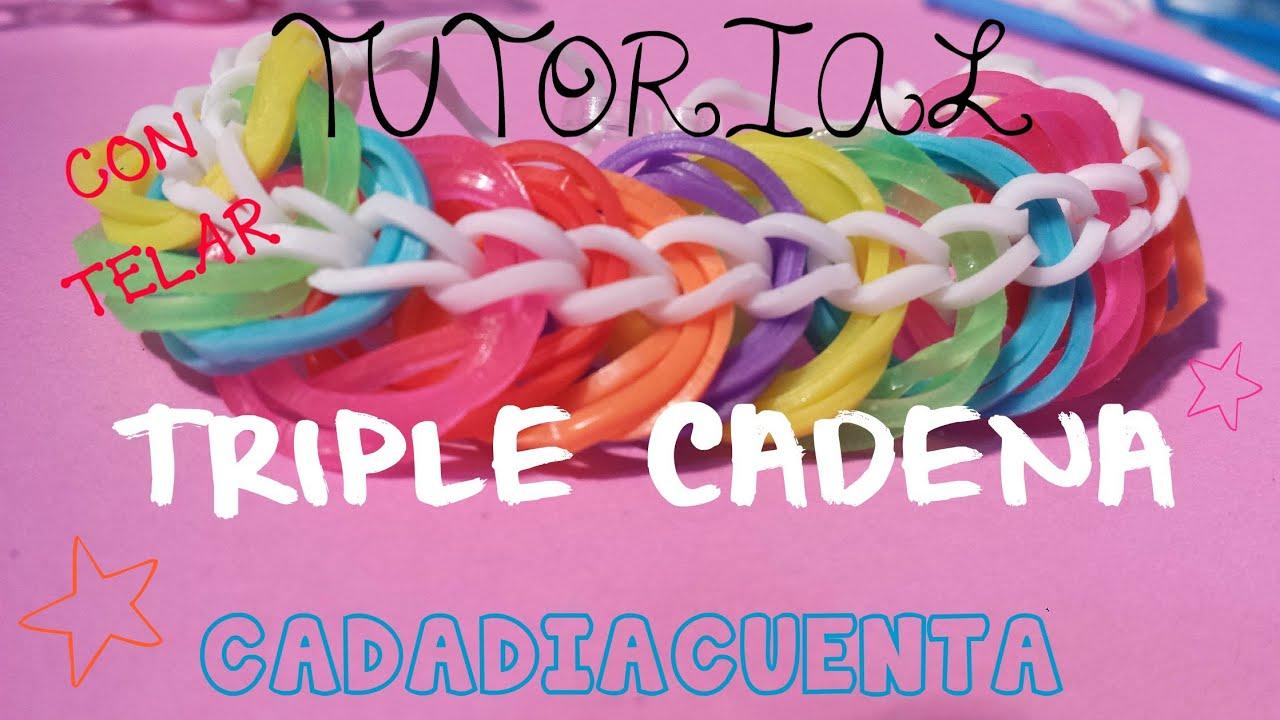 7ce6a3bece3d Tutorial pulsera triple cadena con gomitas de colores y telar en español