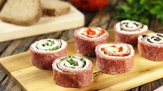 Рулетики из салями с сыром