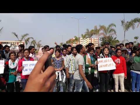 Strike in IGNTU by B.A.B.Ed. student s