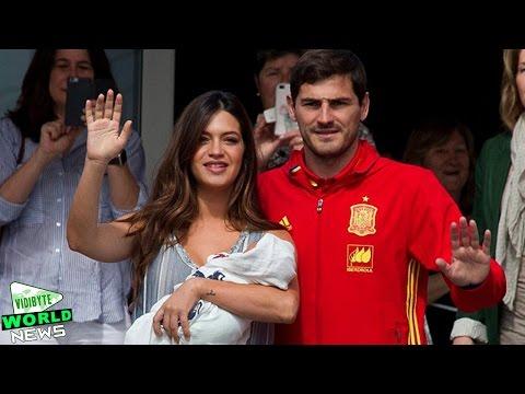 Iker Casillas presents baby Lucas with wife Sara Carbonero