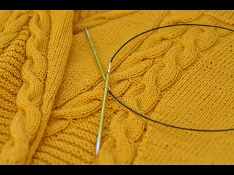 Красивый свитер с косами.МК.Часть 2.Вязание спицами.