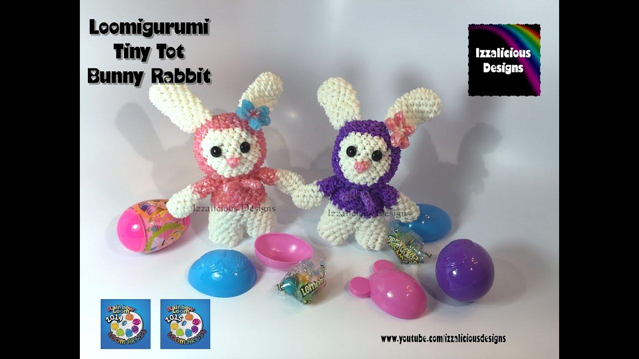 rainbow loom loomigurumi tiny tot bunny rabbit for easter made w