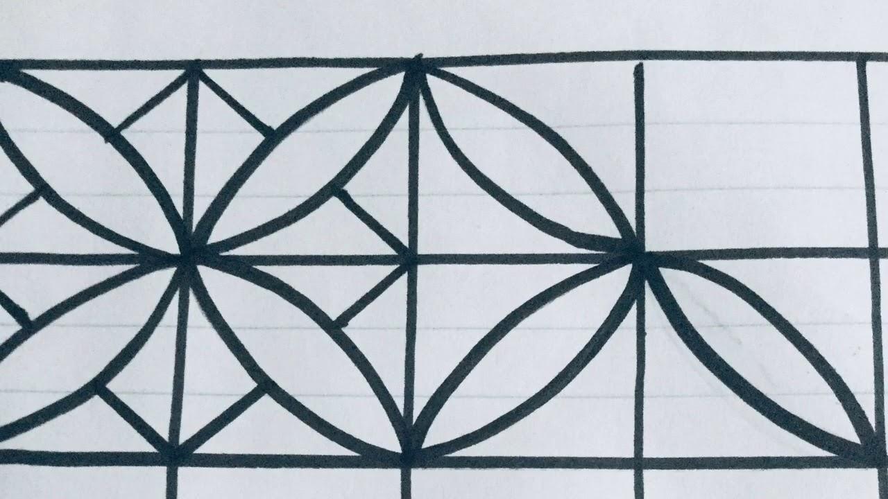 رسم زخرفة بسيطة وسهلة تدخل من ضمن الأشكال الهندسية عادة رقم 140 Youtube