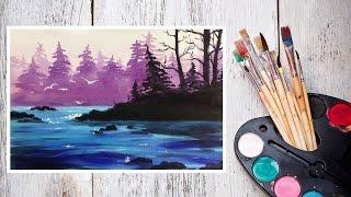 Видео урок Рисуем Акварелью Лесной пейзаж! #Dari_Art