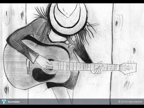 sketching of girl with guitar youtube