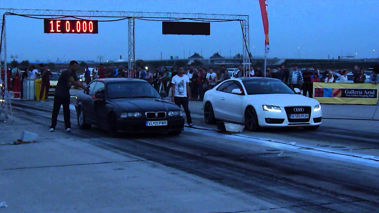 BMW E36 28 NA vs AUDI A5 30 TDI 380BHP DRAG RACING ARAD  YouTube
