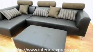 InteriorExpress Kari Black Leather and Brown Microfiber Sectional Sofa w/ Chaise
