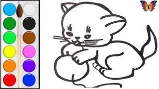 Как нарисовать КОТА /  мультик раскраска КОТЕНОК И КЛУБОК  для детей / Раскраски малышам