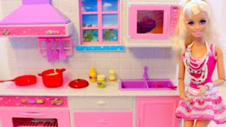 باربى فى المطبخ  طبخ حقيقى ألعاب بنات Deluxe kitchen for Barbie