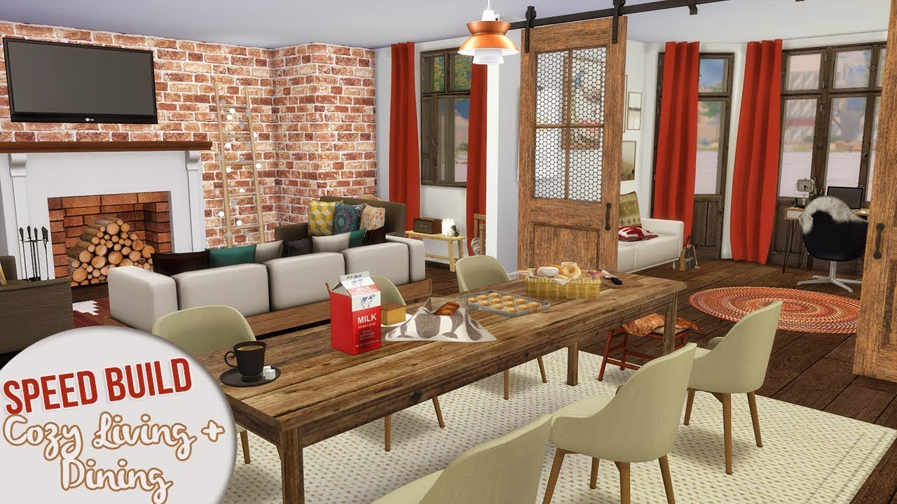 Cozy Living Room Dining Room The Sims 4 Speed Build Youtube