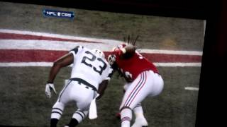 Brandon Spikes hits Shonn Greene