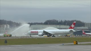 [HD] SWISS 1st Boeing 777 delivery: low pass with F/A-18 & landing at Zurich Airport