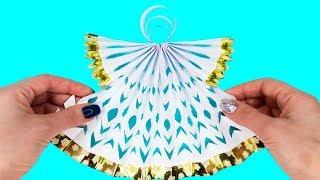 Как Сделать АНГЕЛА ИЗ БУМАГИ своими руками✦ Оригами из бумаги✦Рождественский ангел